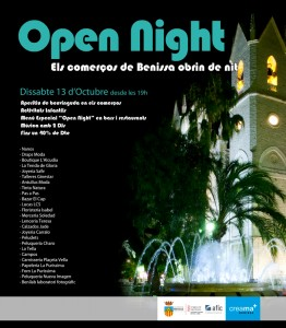 Cartell de la I Open Night a Benissa