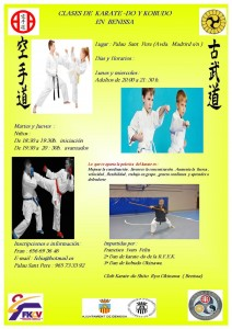 Cartell de les classes de karate i kobudo a Benissa